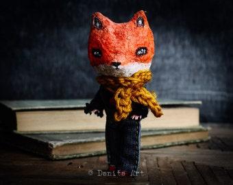 The clever fox - An original mixed media spun cotton handmade doll by Danita Art