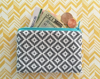 Grey and White - Southwest - Unisex Zipper Pouch - wallet  - change purse - Coin Purse
