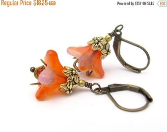 Orange Flower Earrings, Spring Easter Jewelry, Woodland Bohemian Boho, Orange Lilac Tangerine, Swarovski Crystals, Bride Bridal Wedding
