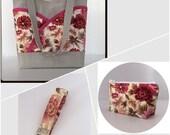 Pink handbag set, pink floral tote bag set, handbag, makeup bag, key chain set, matching pocketbook set