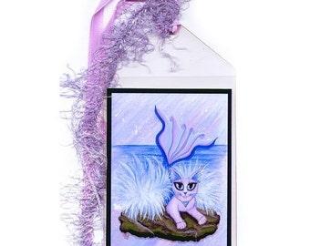 SALE Mermaid Cat Bookmark Elemental Water Cat Bookmarker Purple Mercat Big Eye Cat Fantasy Cat Art Mini Bookmark