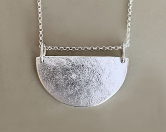Semicircle Necklace in Sterling Silver - Pebble Textured - Minimal - Modern
