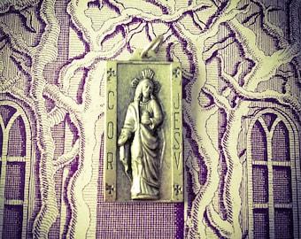 DECO SCAPULAR MEDAL Vintage Religious Cor Jesu Heart Of Jesus Latin