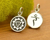 Solar Plexus Chakra Charm - Yoga Jewelry - DIY Sterling Silver round disc charm-double sided with sanskrit -3rd third chakra- yoga necklace