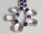 Stunning Necklace with Quartz, Amethyst and Sterling Silver Clasp, Statteam