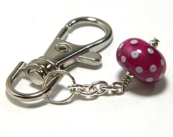 Sweet Pink Lampwork Bead Planner Charm by Starlight Designs Keychain Zipper Charms Purse Charm Pink Planner Charm Planner Accesories
