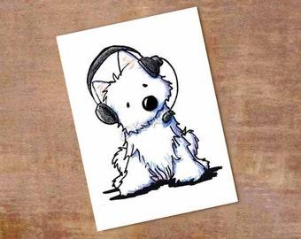 Westie Terrier Dog Original Art Call Center Operator ACEO