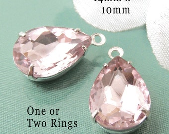 Rose Pink Glass Beads, Pear or Teardrop, Silver Plated Brass Settings, 14mm x 10mm, One or Two Rings, Rhinestone, Glass Gems, One Pair