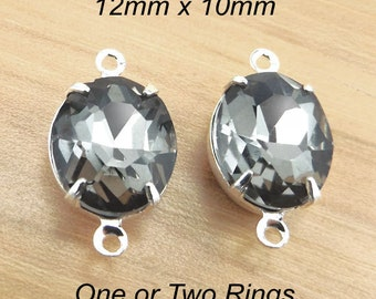 Black Diamond Glass Beads, Silver Plated Brass Settings, 12mm x 10mm, Oval, Cabochon, Glass Gems, Gray, Rhinestone Jewels, One Pair