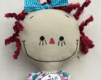 Raggedy Ann handmade cloth rag doll in turquoise, pink and black