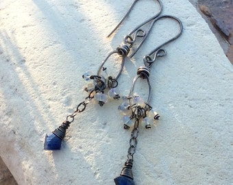 KYANITE and Ethiopian Opal cluster earrings, sterling silver, handmade artisan jewelry, Angry Hair Jewelry