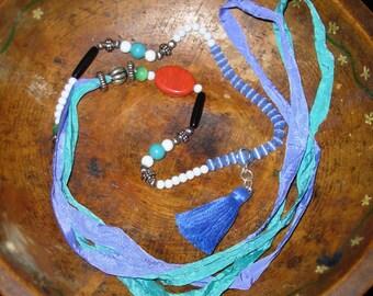 Boho Beaded Tassel Long Necklace Festival Wear, HIppie Free Spirit Style, Colorful Crinkly Ribbons Yogini
