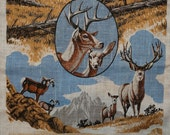 Vintage Deer Tea Towel Yellowstone Park Elk Buffalo Mountain Goats Man Cave Hunter Irish Linen Home Living Dining Entertaining Kitchen Decor