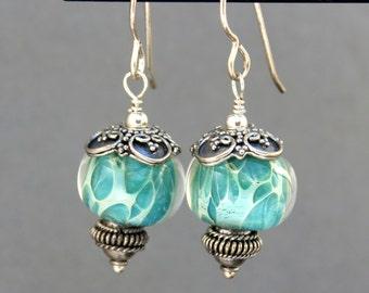 Lampwork Earrings, Glass Earrings, Sterling Silver Earrings, Dangle Earrings, Turquoise Earrings