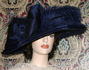 Downton Abbey Hat Edwardian Tea Hat Kentucky Derby Hat Ascot Titanic Hat - Lady Adella - Wide Brim Hat Womens