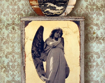 Guardian Angel. Original Mixed Media Art. Angel Assemblage. Wall Art. Wall Decor. Art for the Home REFLECTION by Mikel Robinson