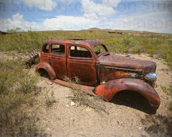 Old Rusty Car. Ghost Town. Original Digital Art Photograph. Southwestern Giclee Print. Color. Wall Decor. LAKE VALLEY CAR by Mikel Robinson