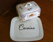 Cocaine hand painted vintage china butter/cheese dish with lid recycled humor drugs party MATURE