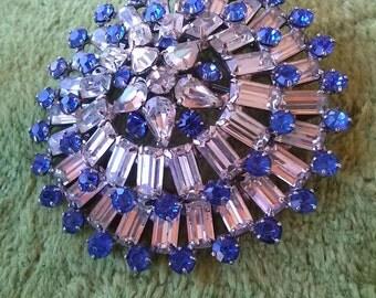 Vintage 1950s Brooch Rhinestone Sapphire Headlight Star 50s Pin