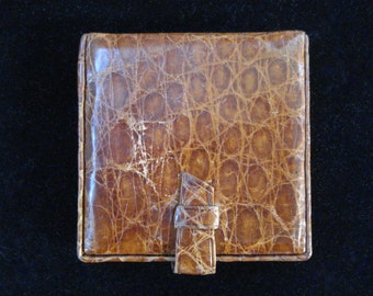 Vintage 1940s Compact Leather Faux Alligator 2013684