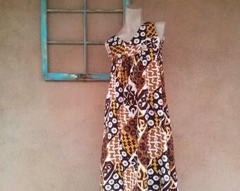 Vintage 1960s Hawaiian Dress Tiki 60s Maxi Small B34 2016145