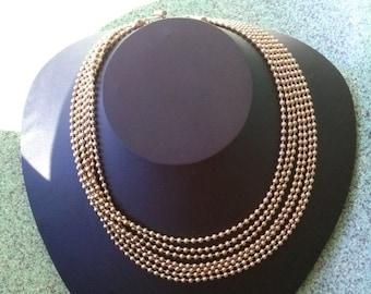 ON SALE Vintage 1940s Necklace Brass Tiny Beaded Multi Strand Choker 20160220J197
