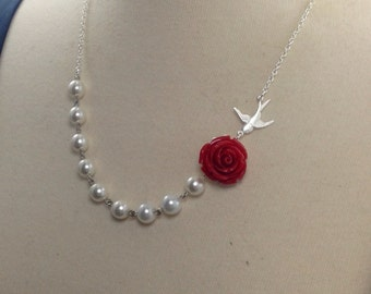 Flower and Silver Swallow Bridesmaids Necklace Set Reserved for Alexandra