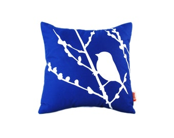 Cobalt Blue Bird on Cherry Blossom - Mini 10.5 Inches Square Pillow