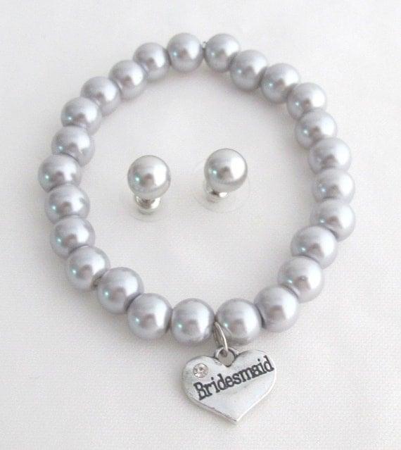Bridesmaid Pearl Bracelet bridesmaid bracelet Bridal Party ,Silver Gray Bridesmaid Jewelry Junior bridesmaid bracelet Free Shipping USA