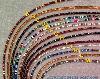 Extra Long Brown Seed Bead Necklace, mixed color beaded necklace, wrap bracelet, layering necklace, everyday wear jewelry by LoveThemBeads