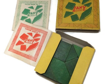 Vintage Zany Puzzle Game - 1939 wood tangram, Original Puzzle Book, Original Answer Book, Martel Co,