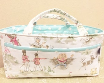 Diaper Caddy Storage Organizer | Baby's room Diapers Bottles | Over the Moon Nursery Rhyme Toile