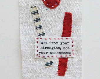 Textile art, mini quilt, stitching, quotation, minimalist, with free companion quiltie