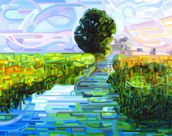 early morning stream, dawn, wetlands, sunrise, blue, green, Small Signed Fine Art Giclee Print from my Original Painting - Ebb and Flow -
