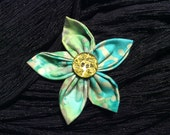 Green Teal Grey Watercolor Fabric Flower Brooch Pin