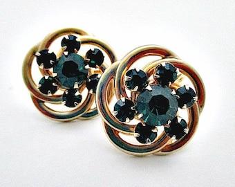 Vintage Rhinestone Screw Back Earrings / Vintage Green Rhinestone Earrings / Vintage Jewelry Supply
