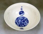 32 oz Blue and White Fine Porcelain Serving Bowl Salad Bowl Soup Bowl Mixing Bowl Ceramic Bowl Hand Thrown Porcelain Pottery 1