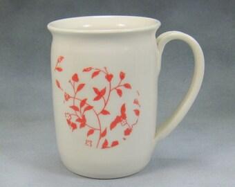 Coffee Mug 12 - 14 oz Red and White Porcelain Coffee Mug Ceramic Mug Pottery Coffee Mug Hand Thrown Mug Unique Coffee Mug Pottery 24