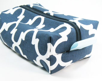 Makeup Bag / Cosmetic Bag/ Travel Bag / Toiletry Bag - Navy Blue Fulton Quatrefoil