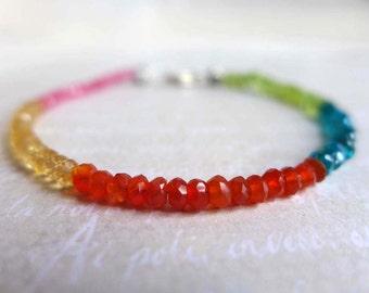 Multicolor Gemstone Bracelet, Colorblock Gemstone Layering Bracelet, Carnelian Citrine Peridot Blue Apatite Pink Quartz, Slim Yoga Bracelet