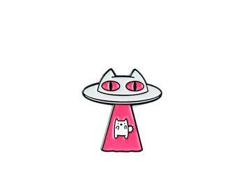 Alien Abduction Cat - Pink • Soft Enamel Lapel Pin