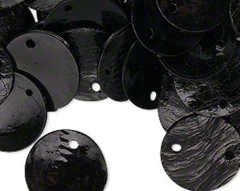 Versatile Black Mussel Shell 15mm Flat Round Drop Disc Beads 50pcs