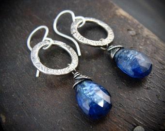 azure ... sterling and kyanite  earring
