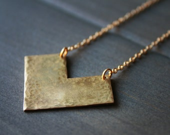 Lori Necklace - chevron arrow triangle minimal modern long brass gold hammered texture simple clean geometric minimalist