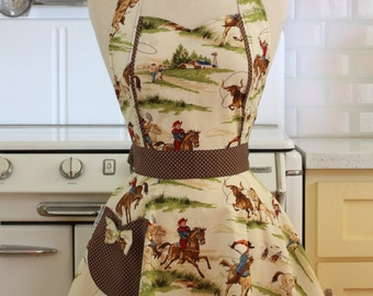 The MAGGIE Vintage Inspired Western Cowboy Full Apron