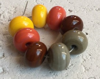Round Spacers - Pairs in Brown, Persimmon, and Yellow
