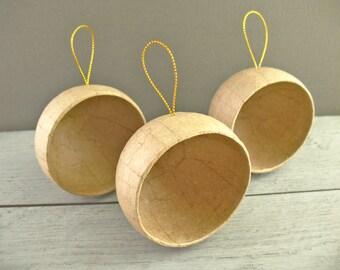 Paper Mache Diorama Ornaments - Craft Shapes - Kraft Brown - Blank Balls - 3 Pieces