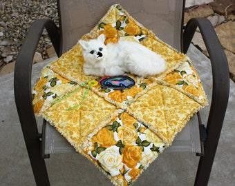 Cat Quilt, Yellow Cat Blanket, Cat Blanket, Cat Accessories, Small Dog Blanket, Dog Accessories, Pet Crate Mat, Travel Pet Mat, Catnip Mat