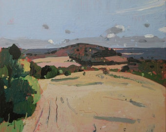 October High Ground, Original Autumn Plein Air Landscape Painting on Panel, Ready to Hang, Stooshinoff