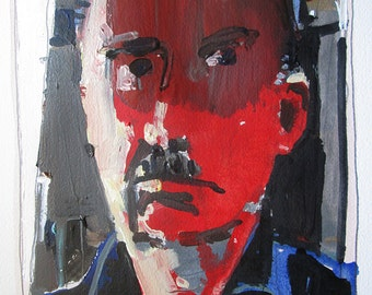 April Self, Original Acrylic Self Portrait Painting on Paper, Stooshinoff